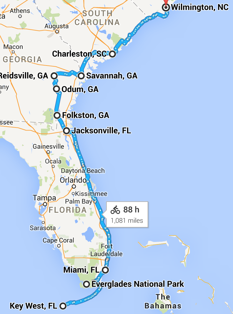 Phase 1: Key West, FL to Wilmington, NC