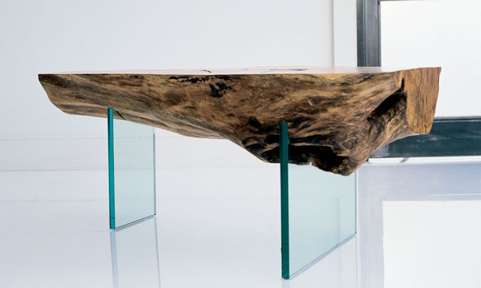 Solid Wood Glass Leg Coffee Table / Herman Furniture Singapore
