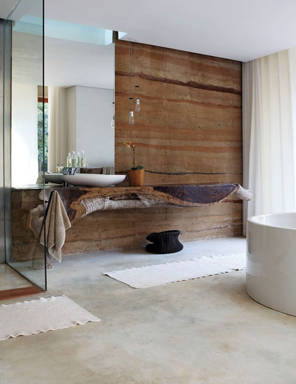 Solid Wood Wall Feature and Sink / Herman Furniture Singapore