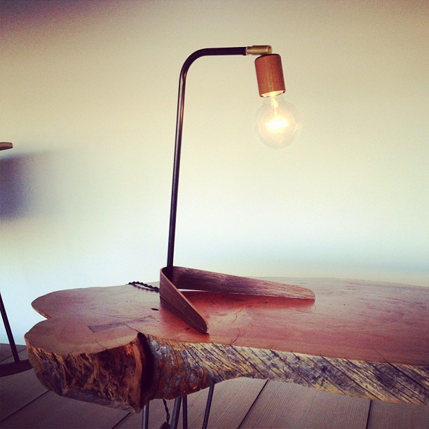 Raw Wood Table Light Feature / Herman Furniture Singapore