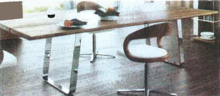 Thin Raw Wood Slab x Flat Bar Polished Stainless Steel Legs / Herman Furniture Singapore