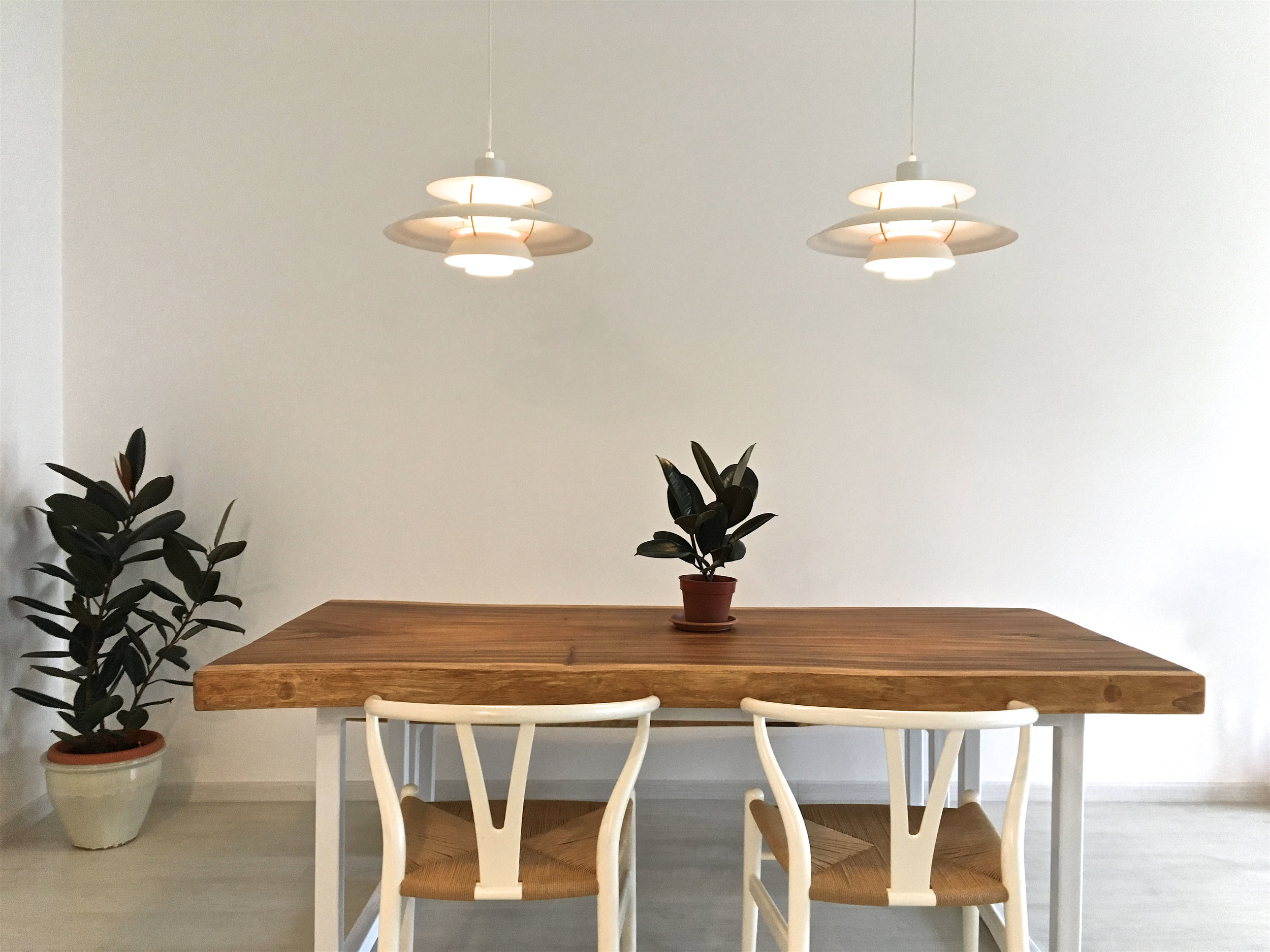Suar Wood Table with Custom Base // Herman Furniture Singapore