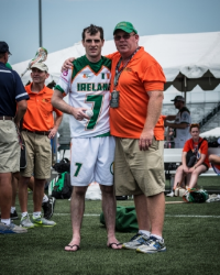 Connor Sweeney presented with the Physio Company's MVP award by coach Tom Prior