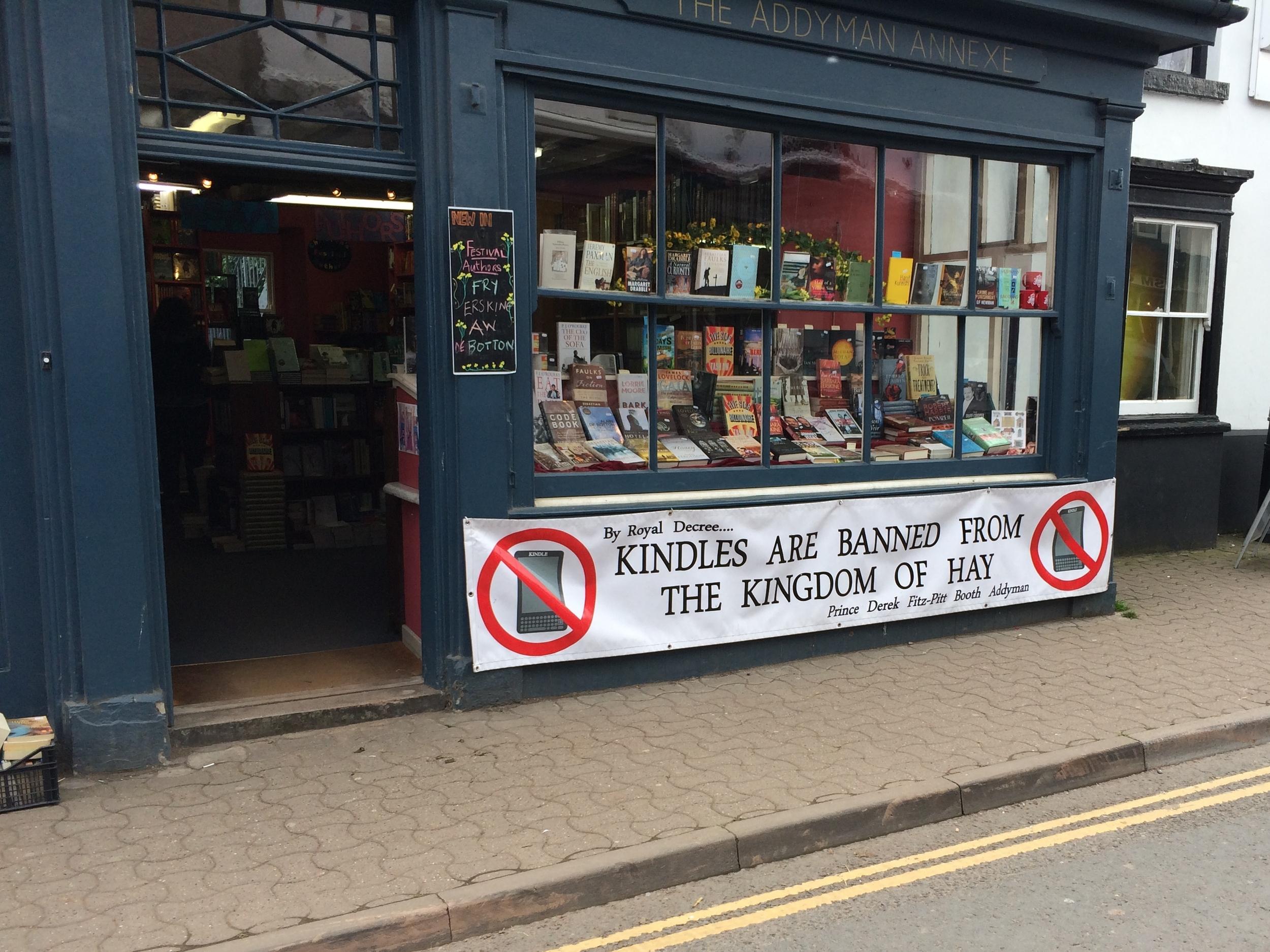 Street banner on a festival bookshop