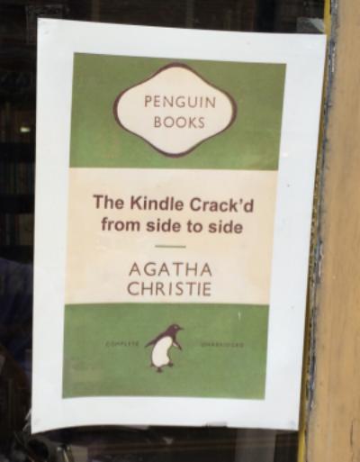 Poster in Hay book shop window