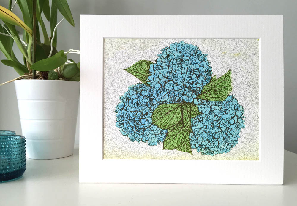 Small Blue Hydrangea Flower with mount