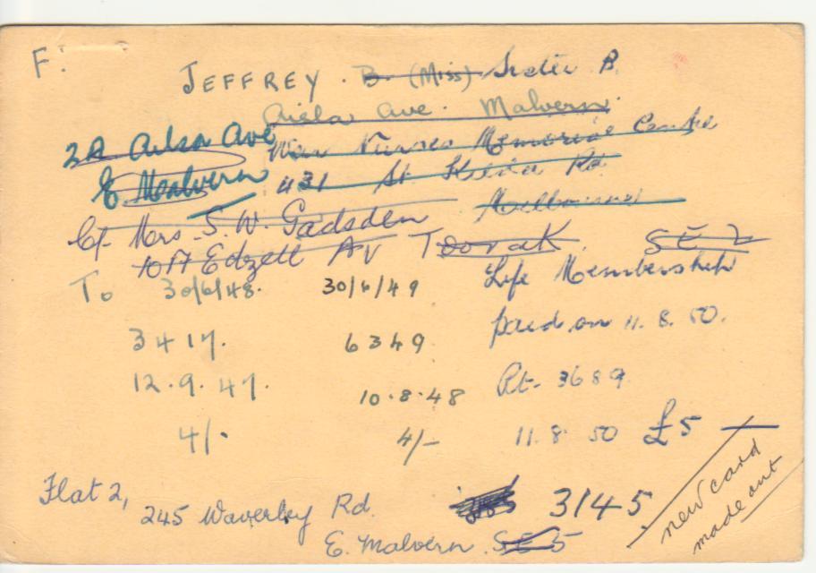 Betty Jeffrey's Membership Card