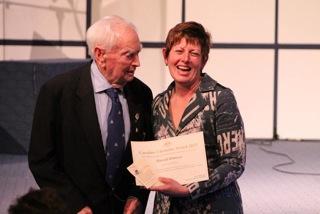 Harold Ramsey receiving Caroline Chisholm Award from Anna Burke MP