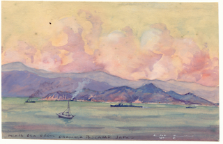Ray Parkin watercolour. A view from the POW camp in Ohama, 1945.