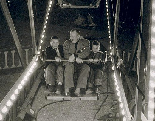 Thom & John Steinbeck Jr with their father, 1954
