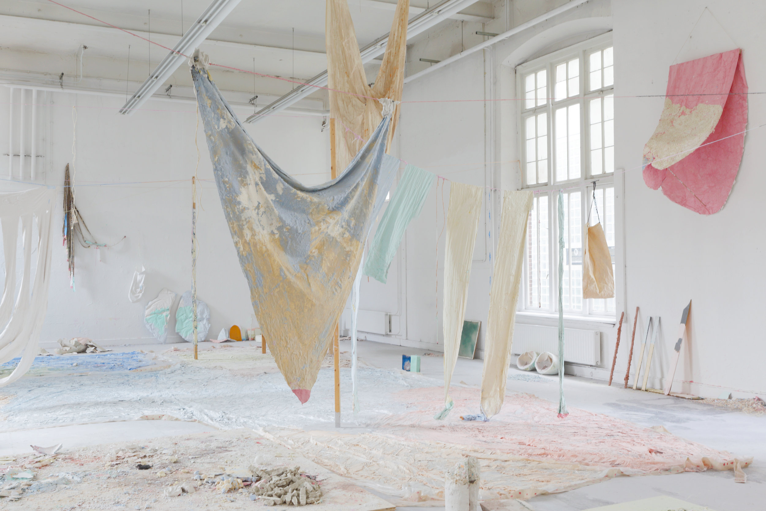 Some things that still need to be said (also about how candy is made) - Colored chalk, textiles, wax, plastics, various paints, wood, 2400 x 1100 cm, graduation show MAFAD Maastricht, 2014