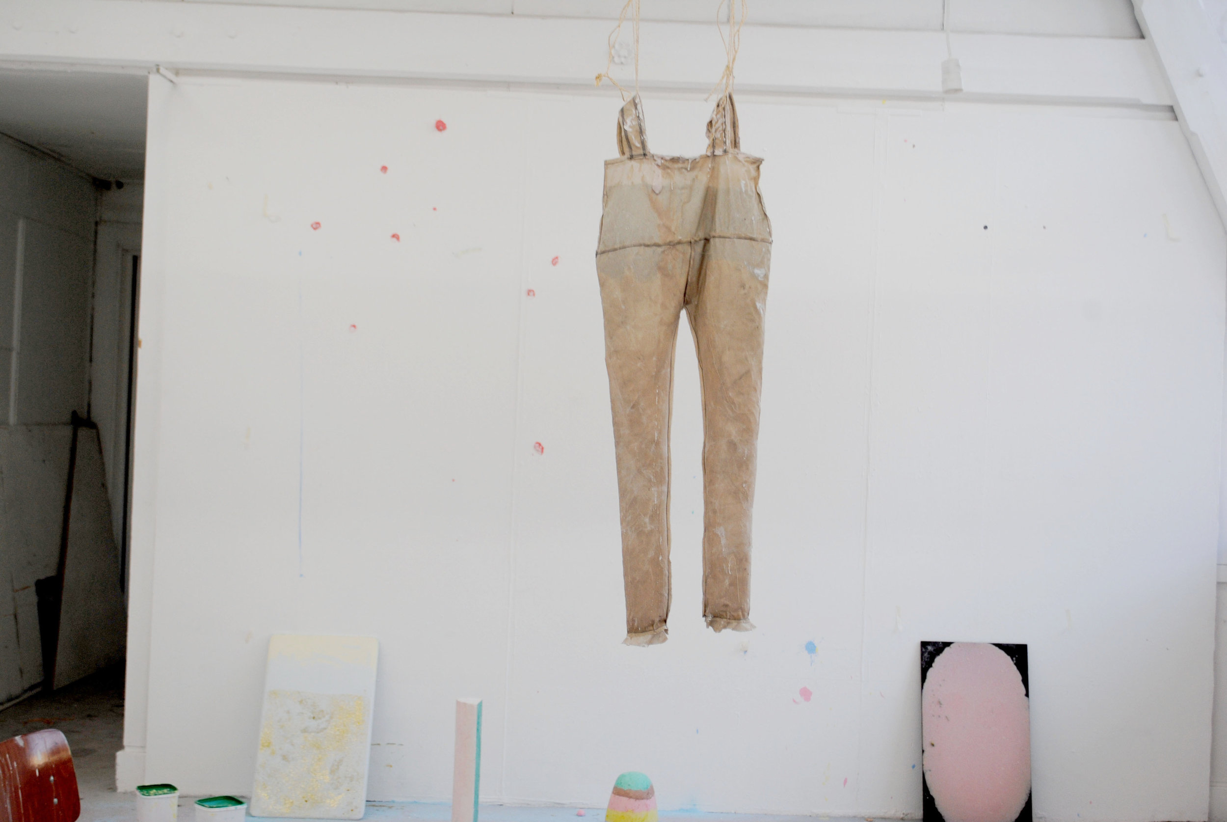 Studio View 2014: Mold (pants) - Textile, wax, colored chalk, rope, 140 cm, Maastricht, 2014