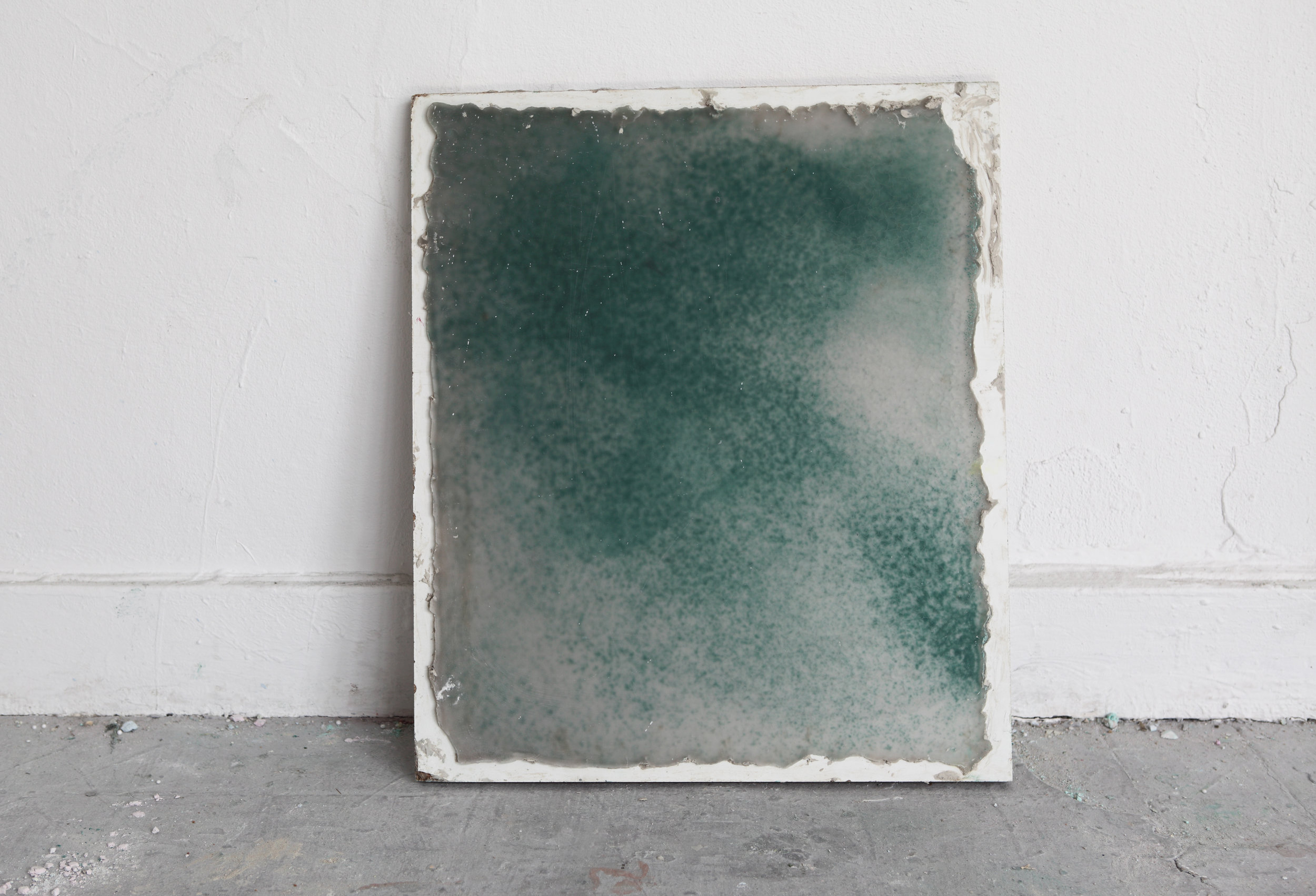 Studio View 2014: Wax plate - Wax, wood, pigments, 35 x 30 cm, Maastricht, 2014