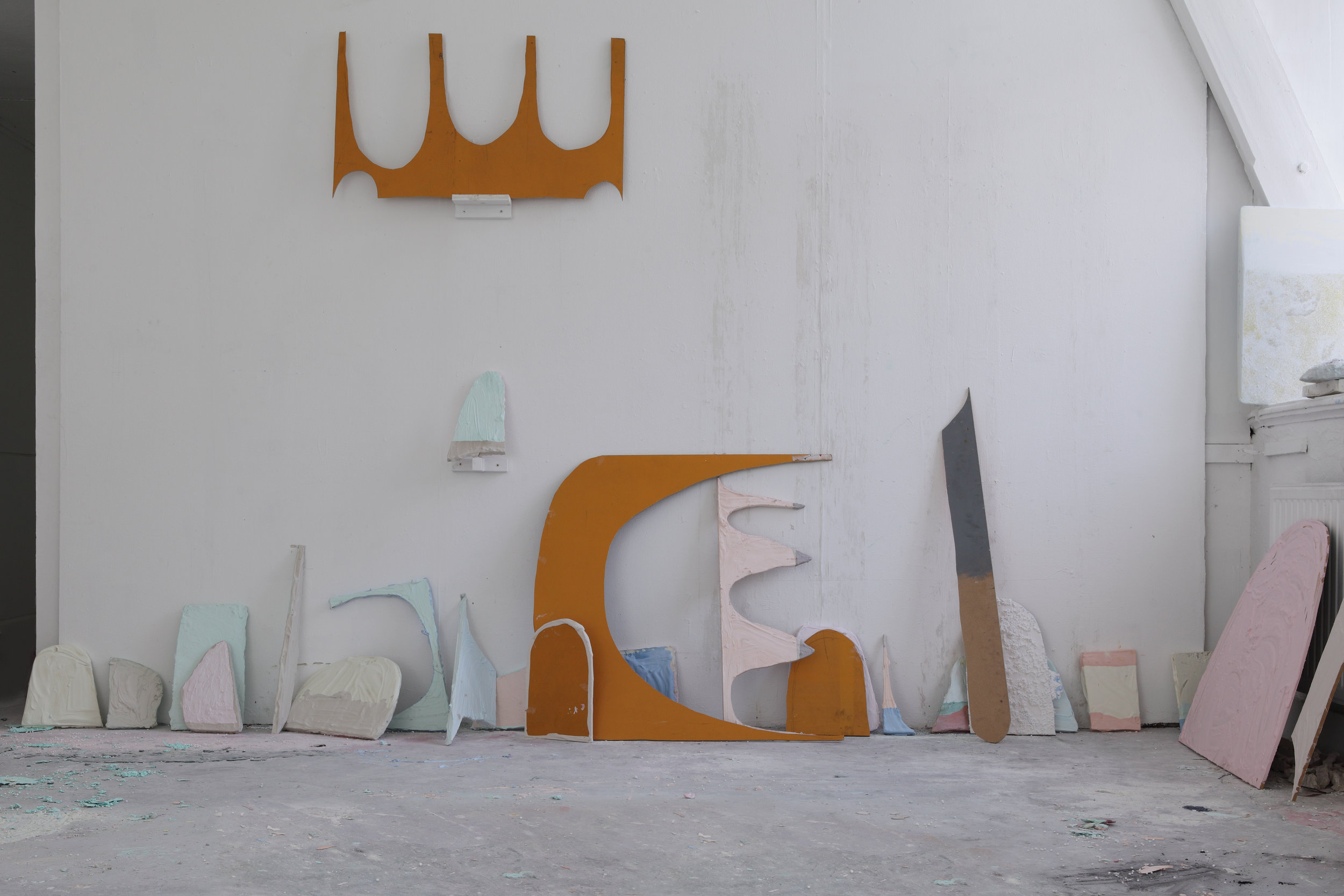 Studio View 2014 - Wood, plaster, pigments, 24 - 60 cm, Maastricht, 2014