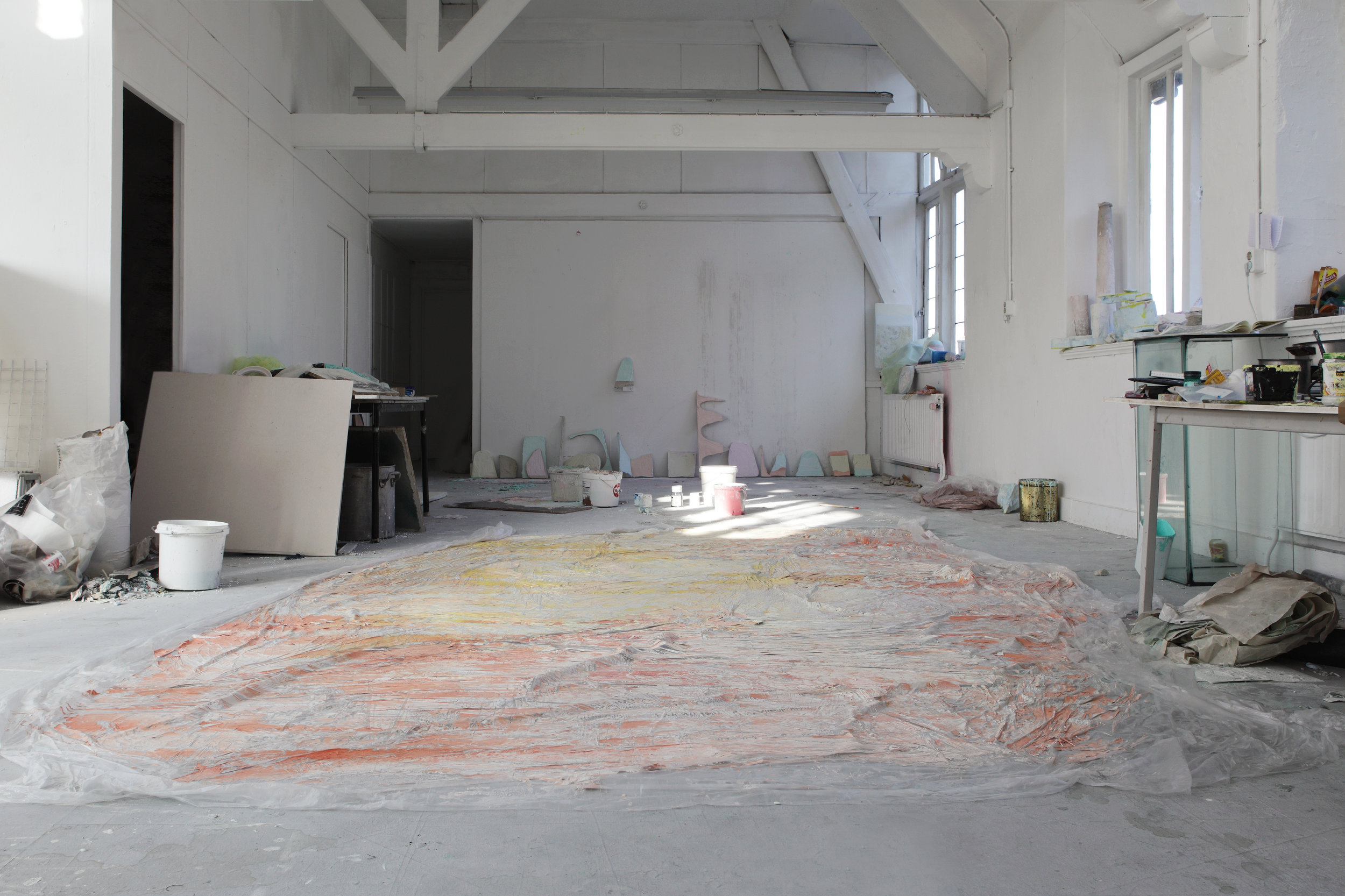 Studio view 2014: Colored sheet - Plastic, various paints, 500 x 200, Maastricht, 2014