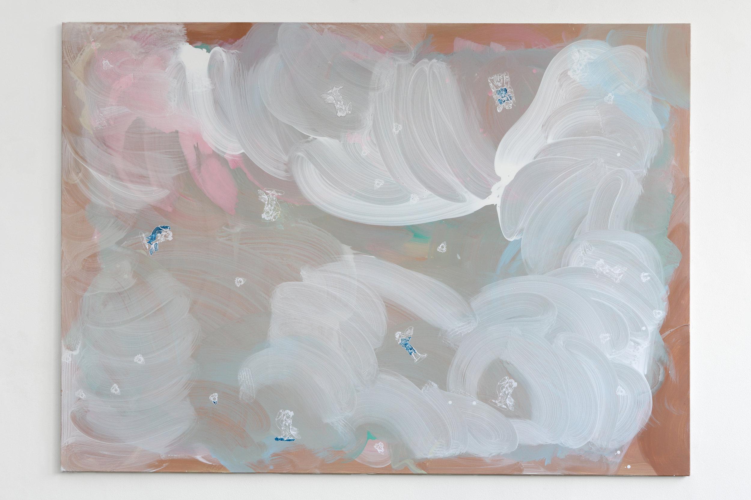 Cameleon Cult - Egg-tempera, primers and silkscreen print on canvas, 250 x 180 cm, 2018