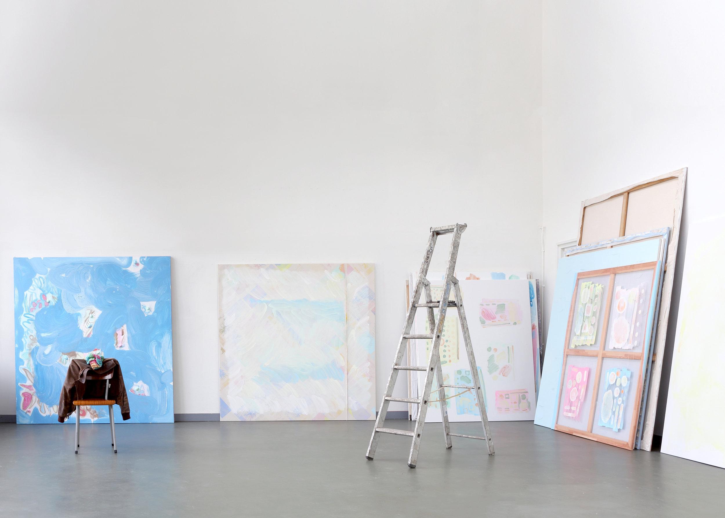 Paintings 2017 - 2018, Egg-tempera, primers, puff-ink, silkscreenprint on canvas and transparant canvas, Various measurements, Jan van Eyck Academie, 2018