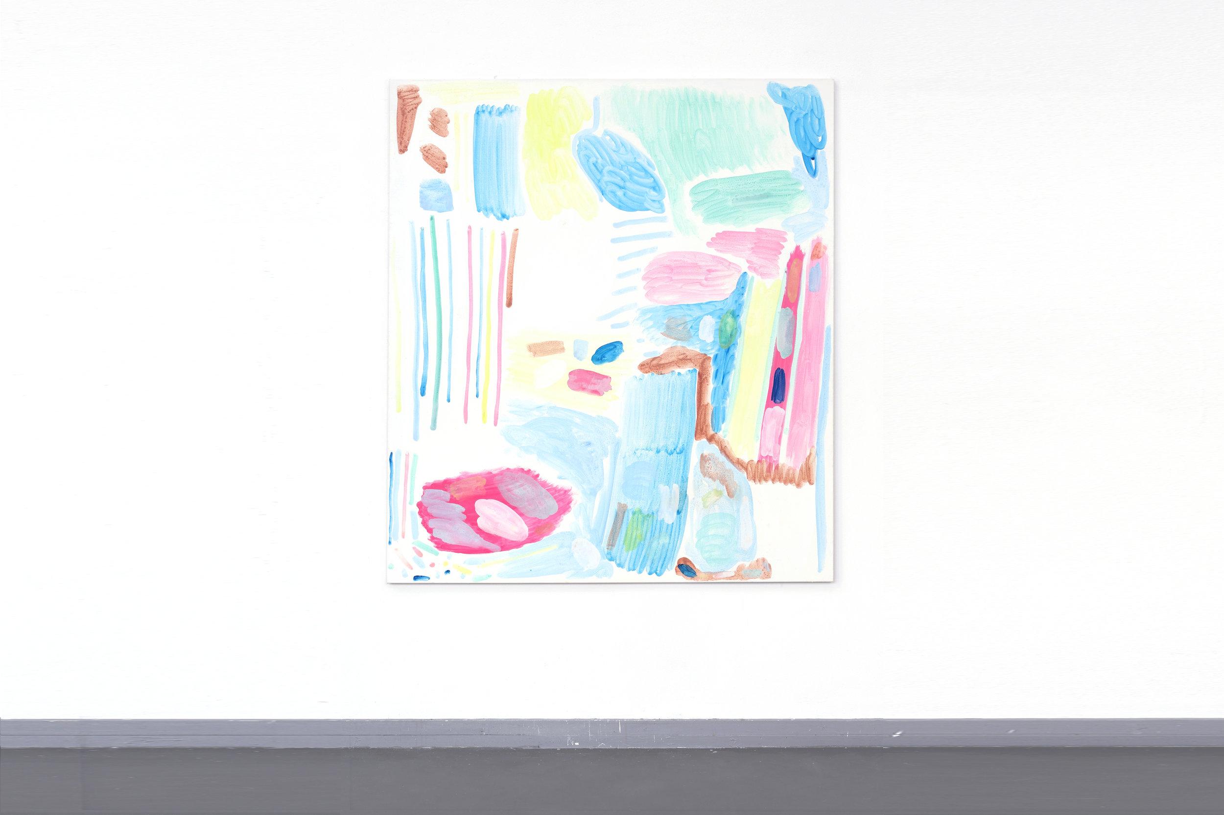 Testdoek 2 - Egg-tempera on canvas, 170 x 150 cm, 2017
