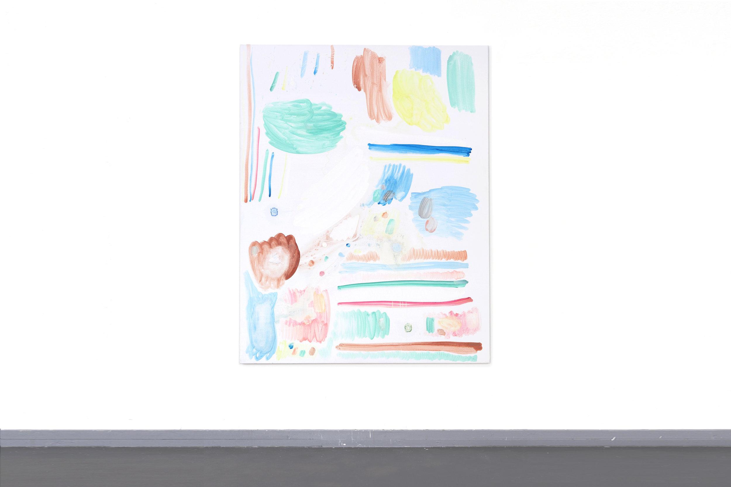 Testdoek 3 - Egg-tempera, Vanish Oxi Action, chlorine, toilet-tabs and bath-bombs on canvas, 180 x 150 cm, 2017