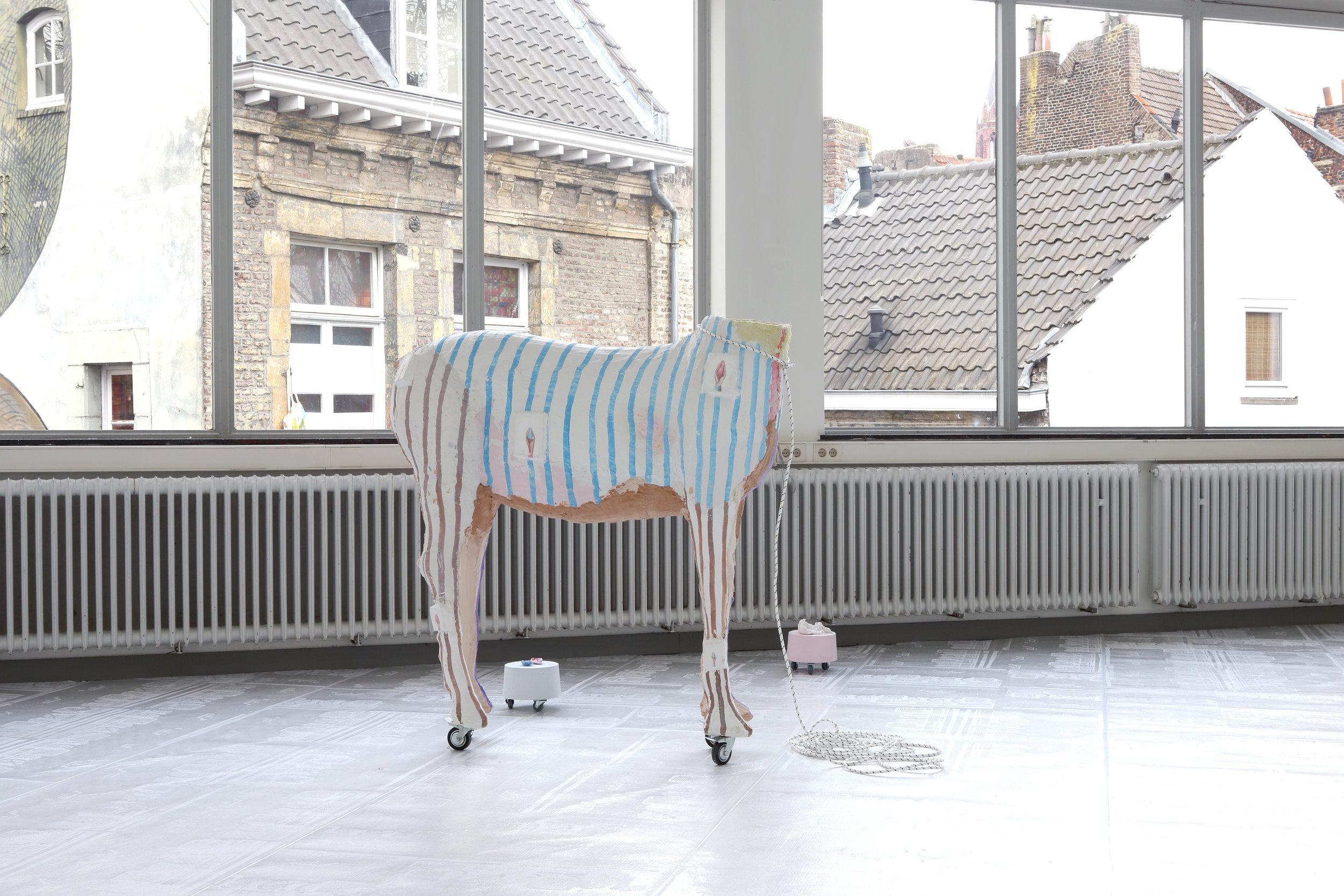 A stone is dropped, eggs mixed, pigments crushed..: Paradepaard - Open Studio's '18, Jan van Eyck Academie, 2018