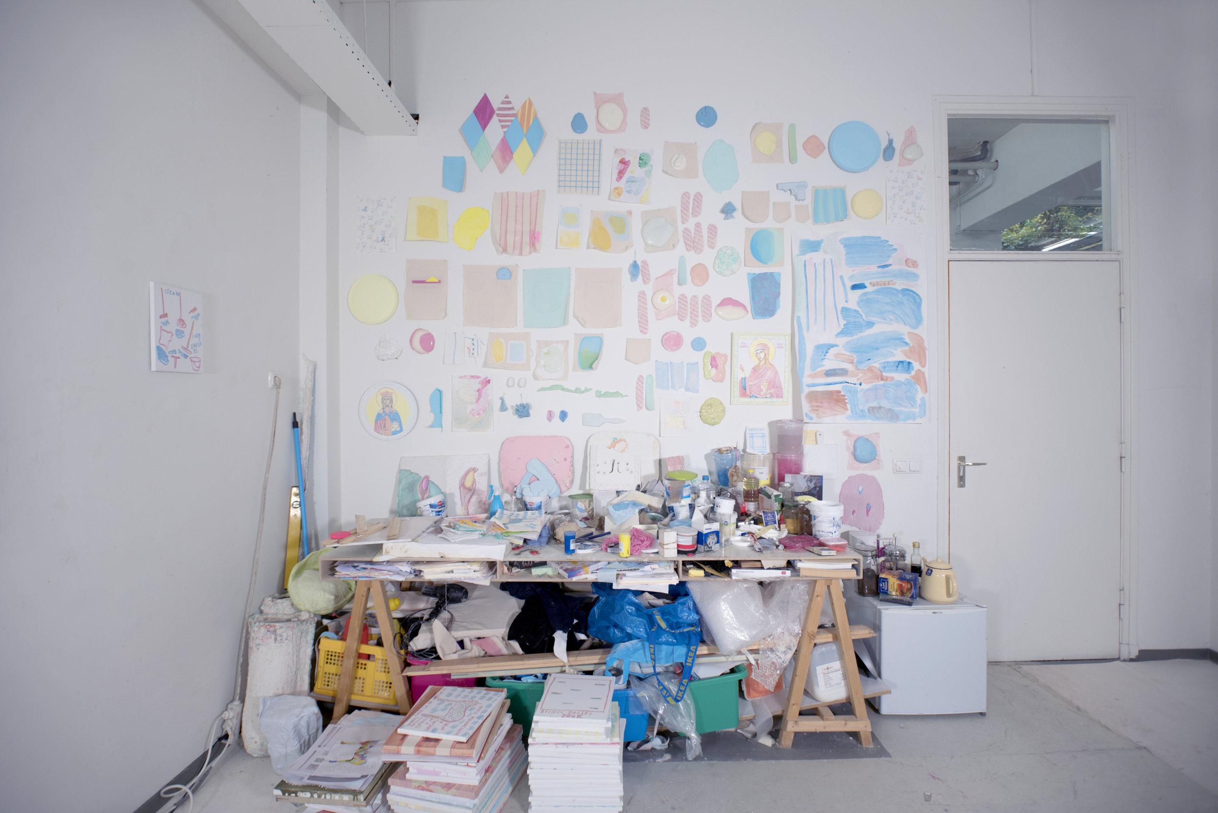 Studio view 2017 - 2018 - Wall with tests, mixed media, Van Eyck Maastricht, 2017