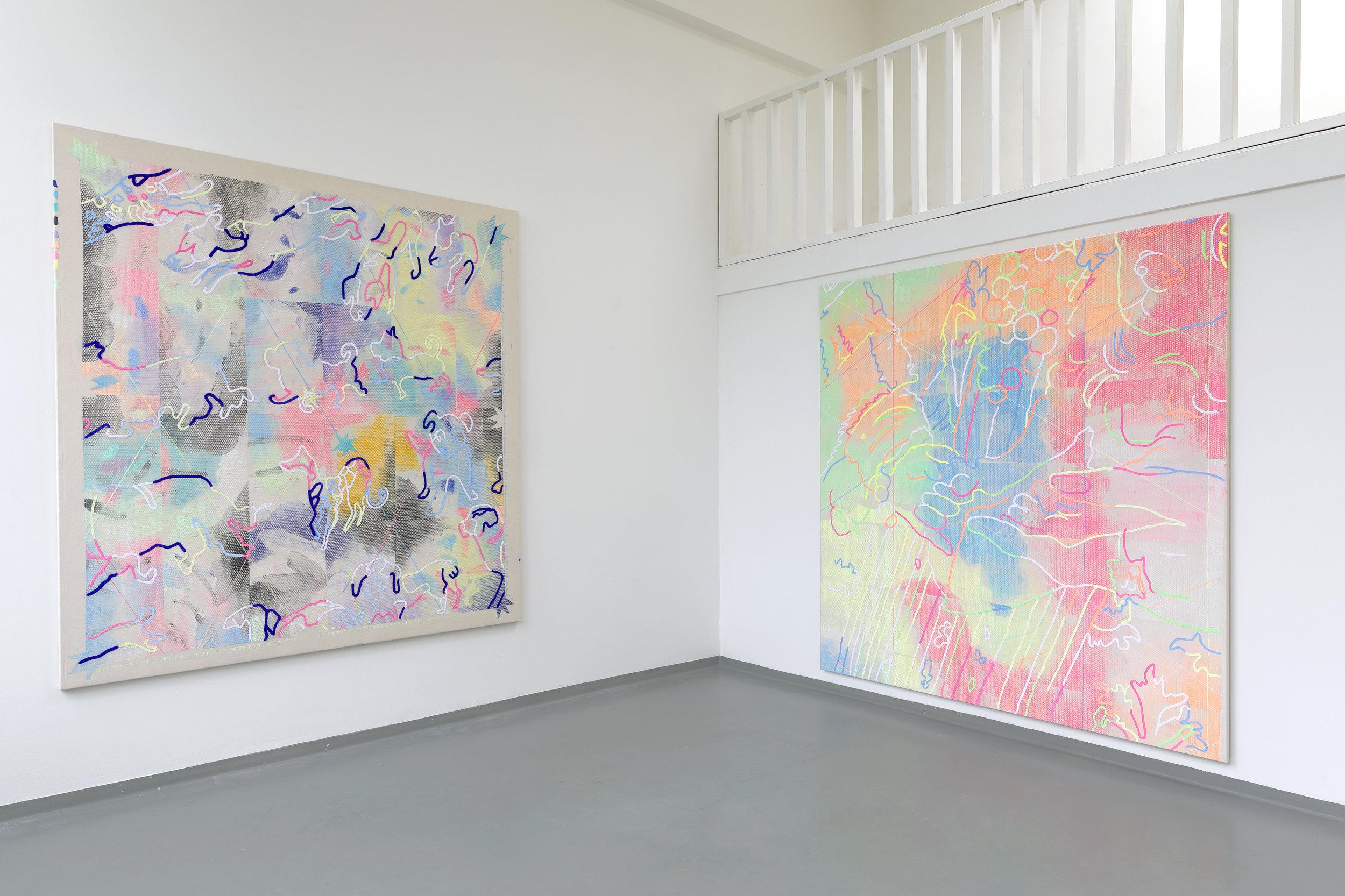 Threadingdoek: Doggies + Threadingdoek: Bianca Degli Utili Maselli holding a dog and surrounded by six of her children - Mixed media, 190x 200 cm, 190 x 200 cm, Van Eyck Open Studio's 2019