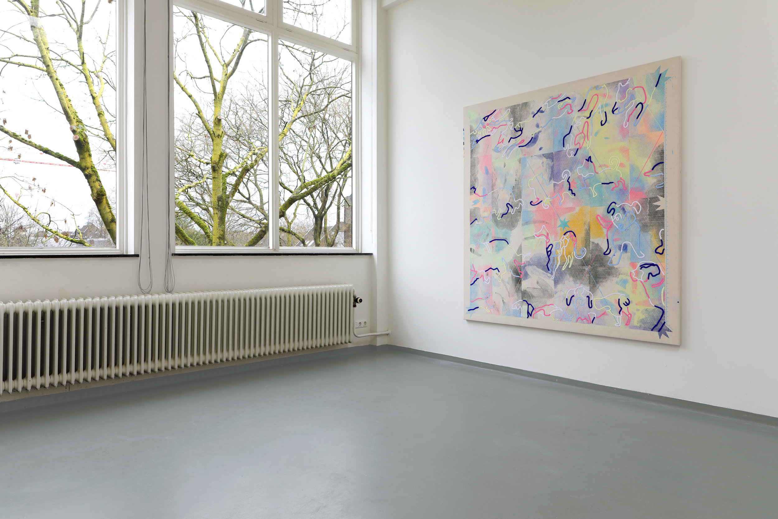 Threadingdoek: Doggies - Mixed media, 190 x 200 cm, In collection of AMC Amsterdam, Van Eyck Open Studio's 2019