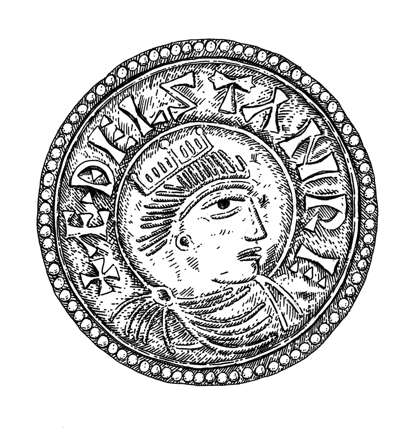 Stamped coin design