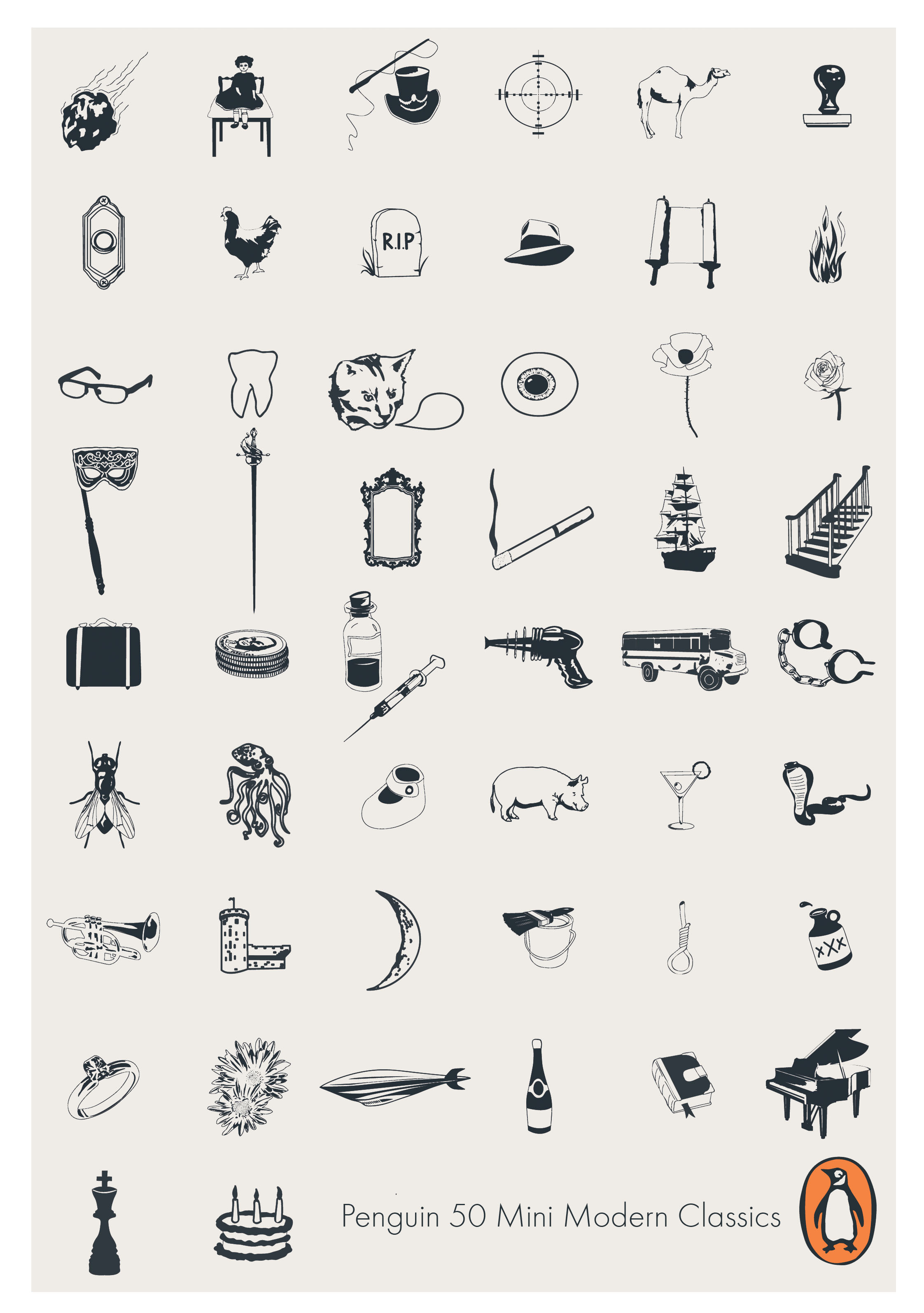 50 icon illustrations for a point of sale display at Penguin Books
