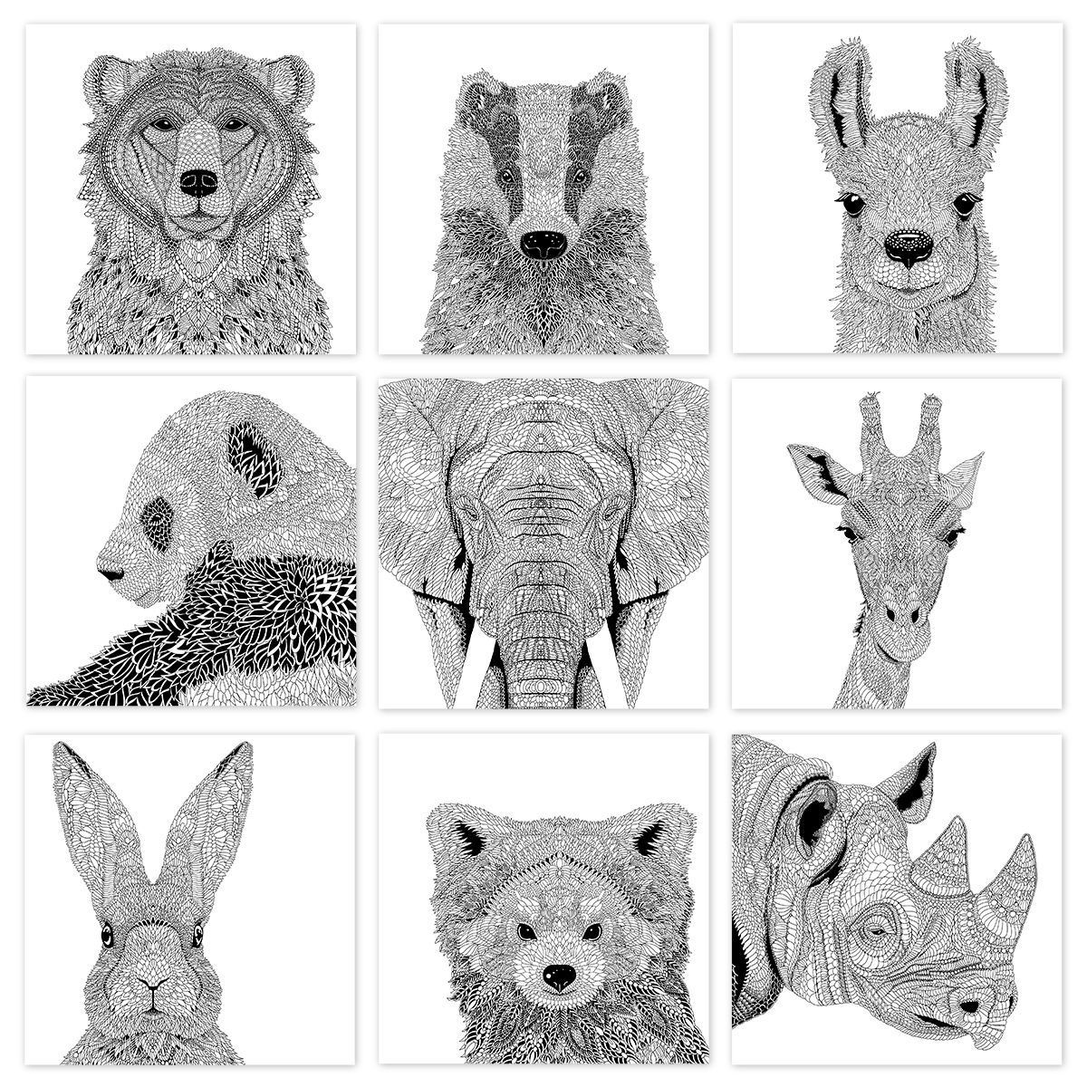 A selection of drawings from 'The Menagerie' created for the mindfulness relaxation of colouring in.