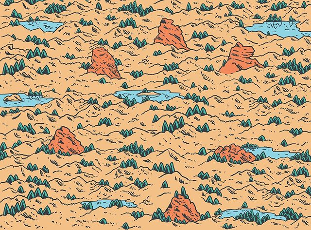 The endpaper for for desolation wilderness - available this weekend @elcafest via the good people of @averyhillpublishing (top folk to work with) #desolationwilderness #comic #comicbook #silentcomic #illustration #drawing #observation #mankind #nature #wilderness #adventure #averyhillpublishing #america #landscape #book #illustrationbook #visualcommunication