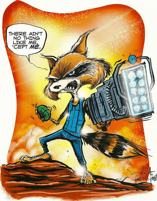 Len Peralta 's amazing adaptation of a certain superstar raccoon. The path we take to our creativity is totally unlike the path anyone else will ever travel. (Note:  Be sure to check out and buy more of Len's artwork .)