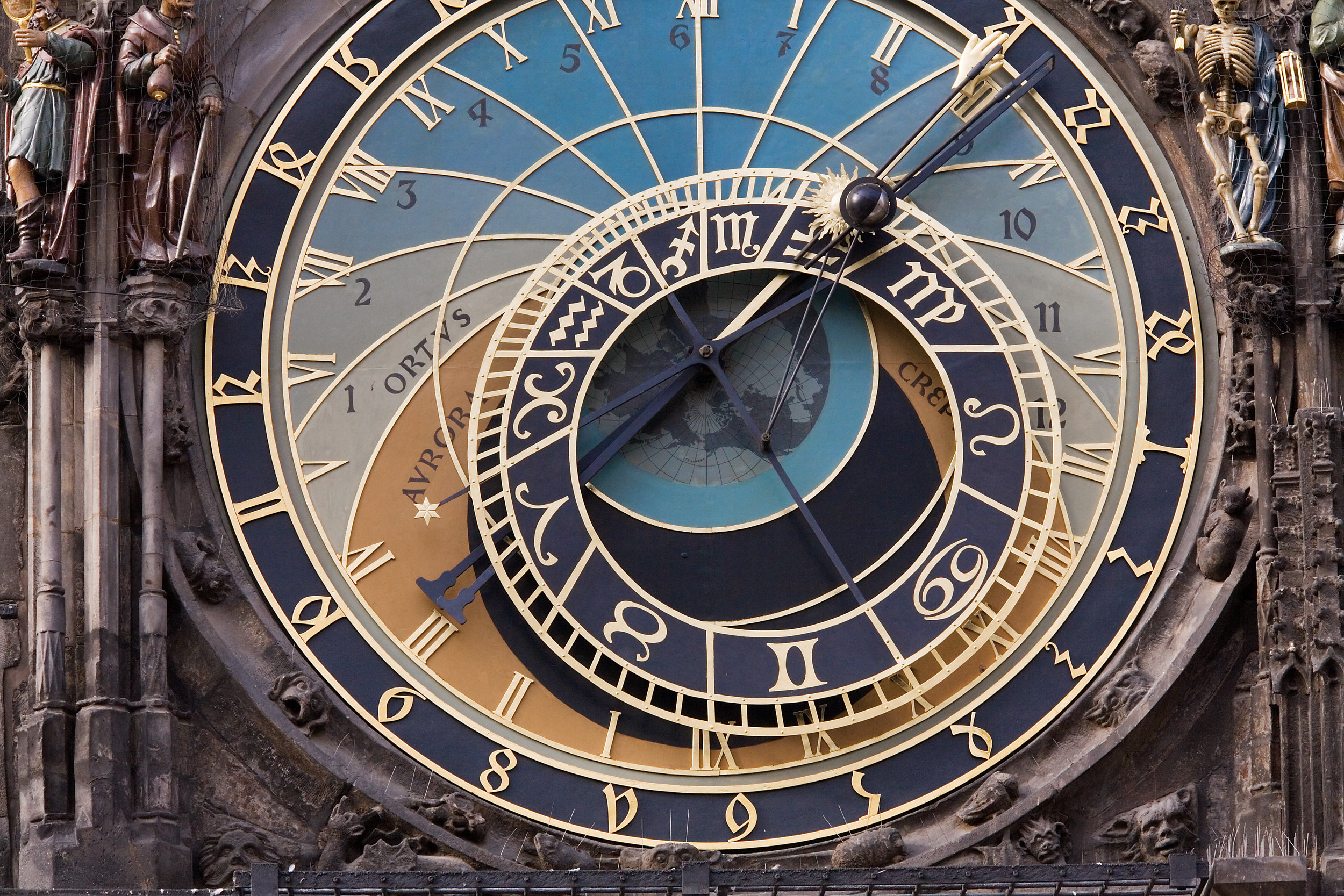 A section of the  Prague astronomical clock .