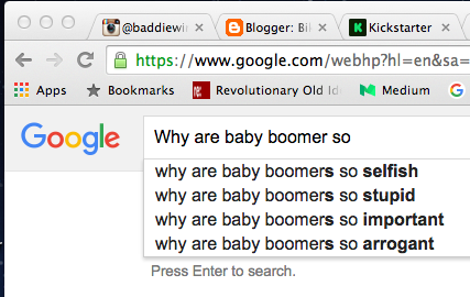 """You just have to open a Google search window and start typing """"Why are baby boomers so..."""" to see that Boomers are often thought of as selfish. Newmark is a counter-example."""