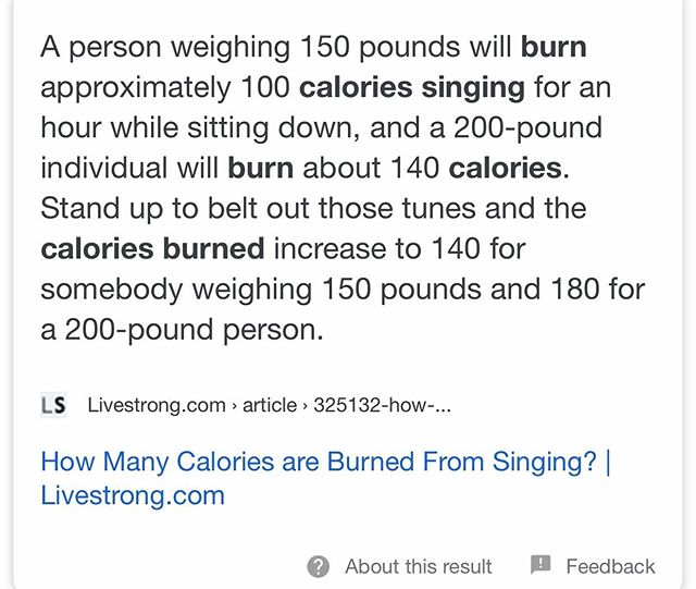 For those needing permission to belt out your favorite tunes... #singingburnscalories
