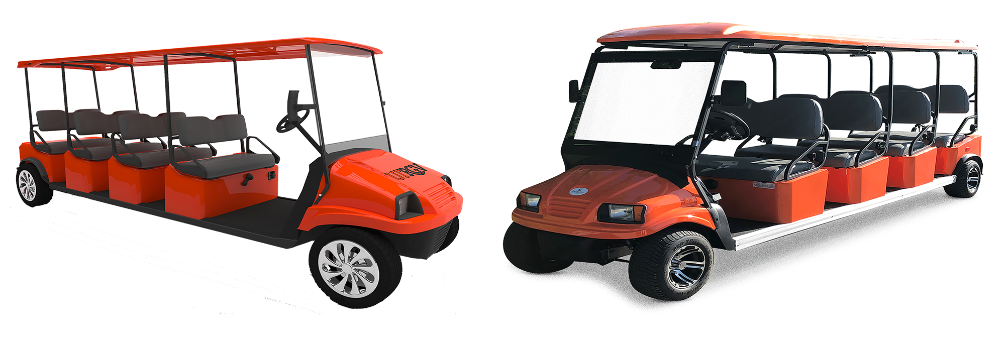 Digital Rendering Design for Texas Shuttle System (Left) - Vehicle Built by Cruise Car (Right)
