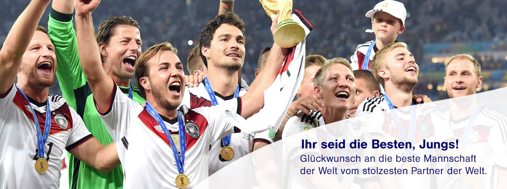 You are the best, guys! Congratulations to the best team in the world from the proudest partner in the world. (image credit:  Lufthansa Group Brazil 2014 page )