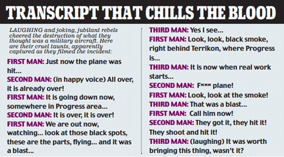 The Daily Mail has this transcript of the alledged culprits. (image credit: Daily Mail)