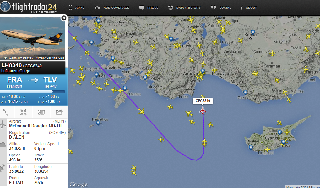 Turkey has probably better re-routing options than Cyprus. (image credit: FlightRadar24 via  @TheHUBRoutes on Twitter )
