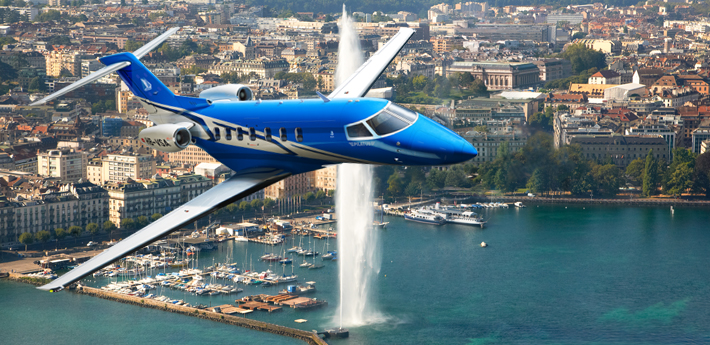 I don't think any aircraft is allowed to use this flight path over my hometown, Geneva. (image credit: Pilatus)