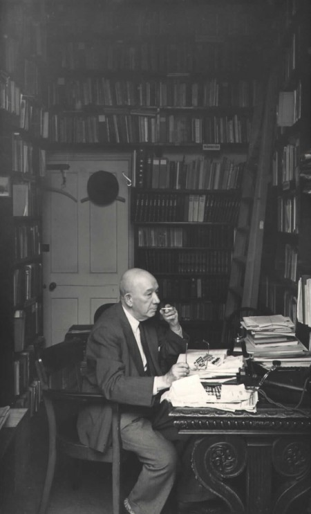 Alfred Wiener at his desk at the Library in Manchester Square, London, UK, in 1953.