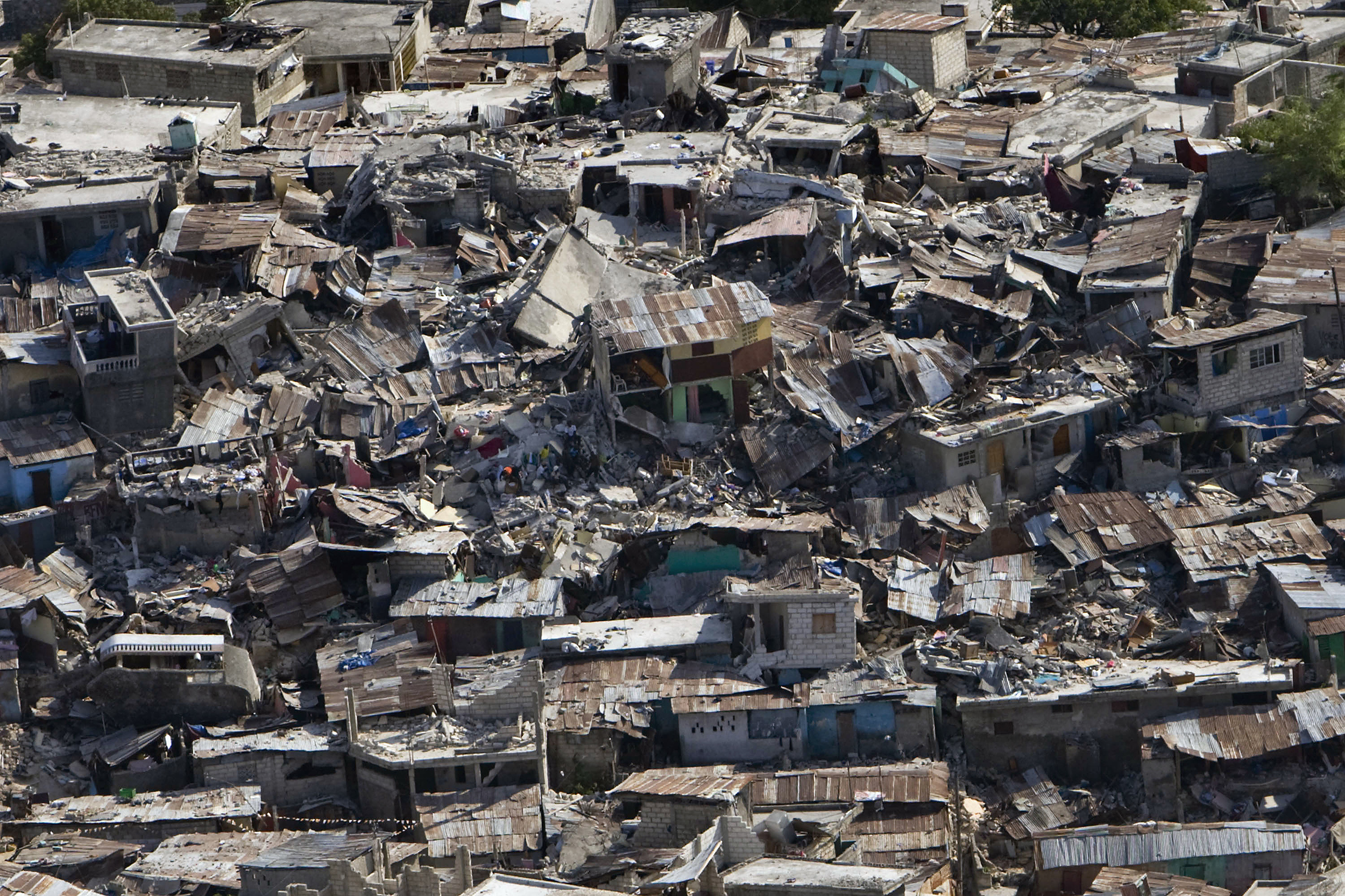 A poor neighbourhood shows the damage after an earthquake measuring 7 plus on the Richter scale rocked Port au Prince Haiti on January 12, 2010. PhotoUN Photo/Logan Abassi.
