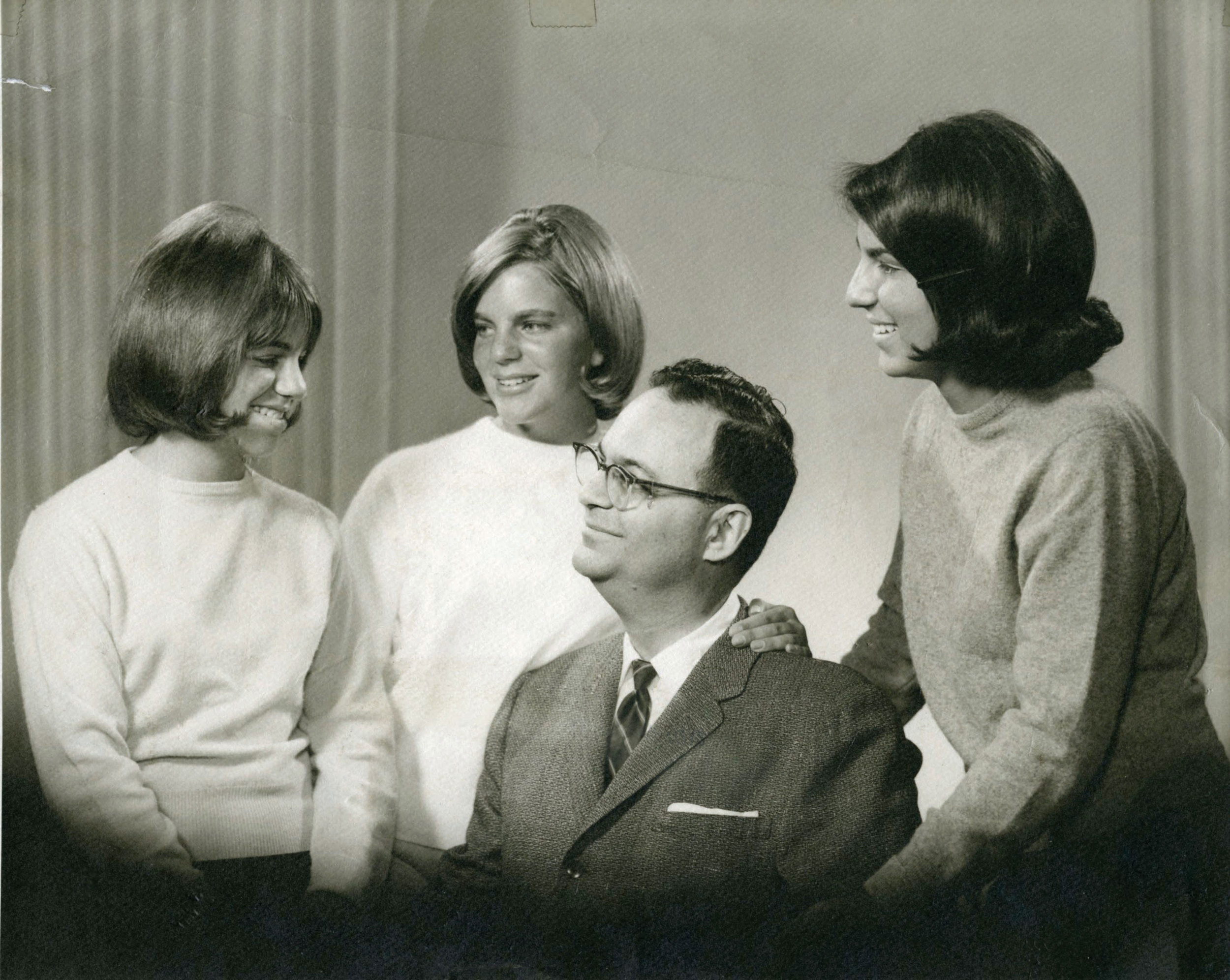 Roger E. Joseph with his daughters Ellen Joseph, Linda Karshan, and Roxane Leopold, circa 1965.