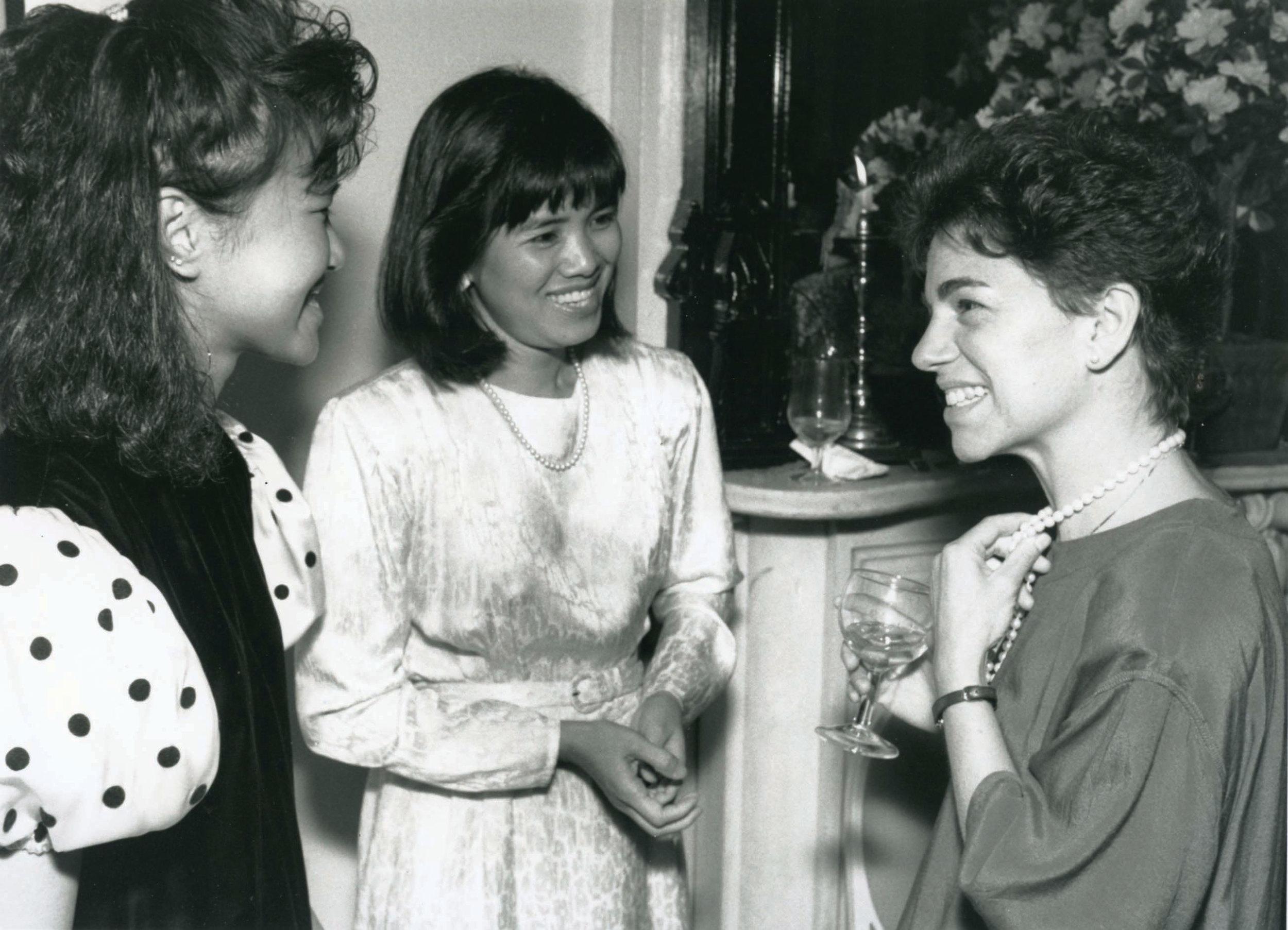 Vu Thanh Thuy, center, with Ellen Joseph, right, 1989.