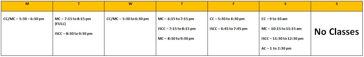 Note: classes with (FULL) underneath are at capacity. Check about page  Class Description for information on each class.