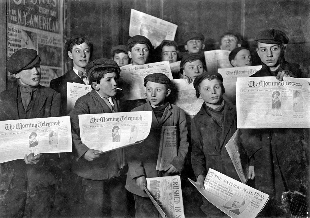 Newsies during the 1899 newsboy strike