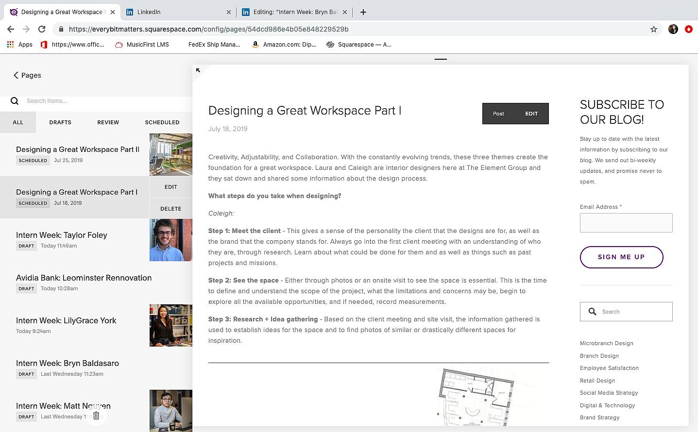 SquareSpace: Blog Line Up