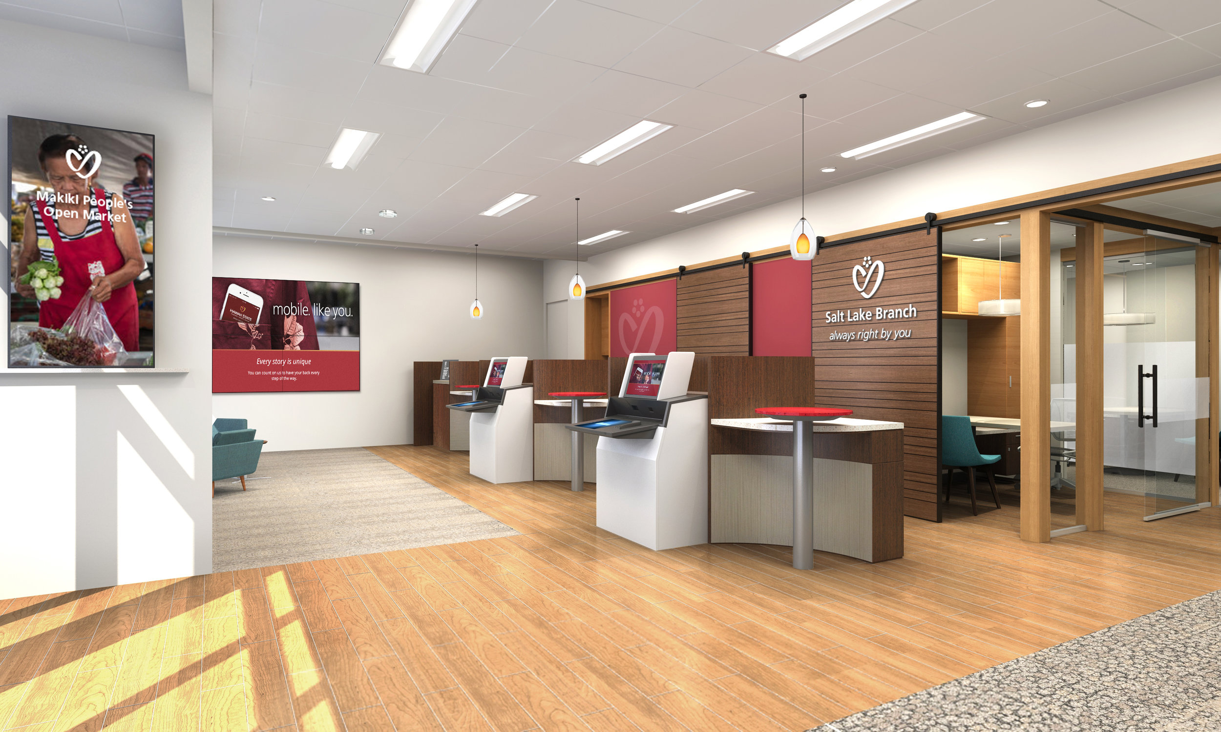 Rendering of HSFCU Salt Lake Branch, Hawaii: Part 1