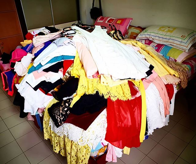 Marie kondoing.  And I haven't even pull out all my jackets and formal gowns. This pile will keep me busy for the day already! 😭😭😭 #sparkjoy #mariekondo #konvert #springcleaning #declutter