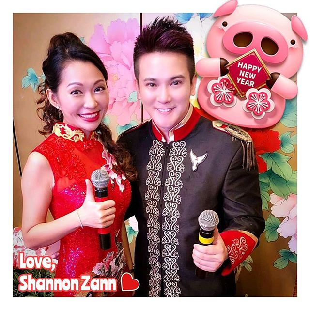 Happy Porksperous New Year!  祝大家:🐷事兴旺,笑口常开!  And no, it's not our wedding, we were hosting an event together! 🤣  #emcee #shannonzann #actress #nickshen #cny #pigyear #chinesenewyear